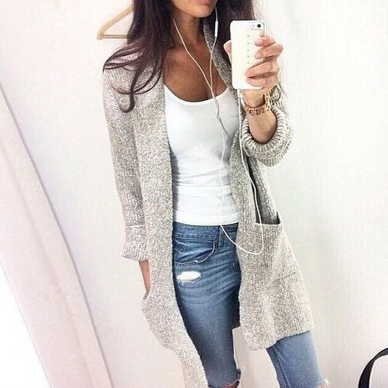 Women Cardigan Loose Sweater Long Sleeve Knitted Cardigan Outwear