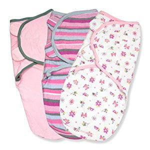 Summer Infant Swaddleme 3 Piece Adjustable Infant Wrap, 7-14 Lbs, Small-Medium, Girly Bug,