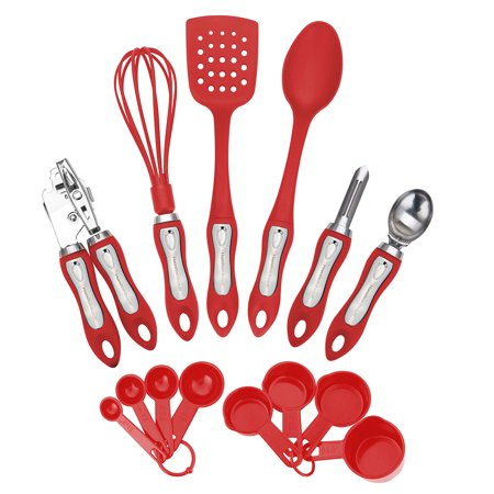 Hamilton Beach Kitchen 14 Piece Soft Touch Handle Tool and Gadget Set, Red ()