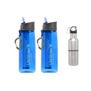 Lifestraw Go 2 Pack Water Filter with Steel Bottle Free, Blue