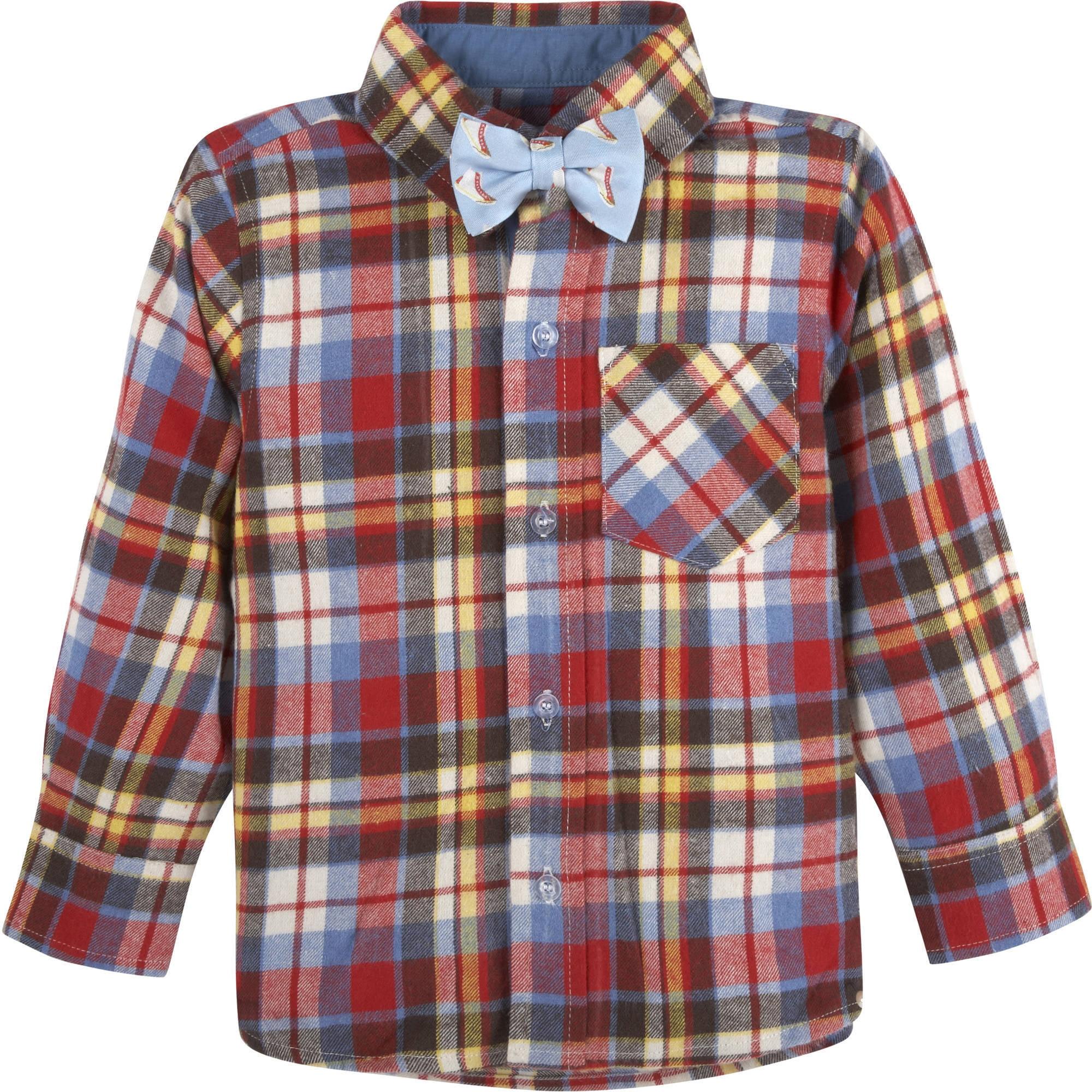 G-Cutee Baby Toddler Boy Flannel Plaid Shirt w/ Bowtie