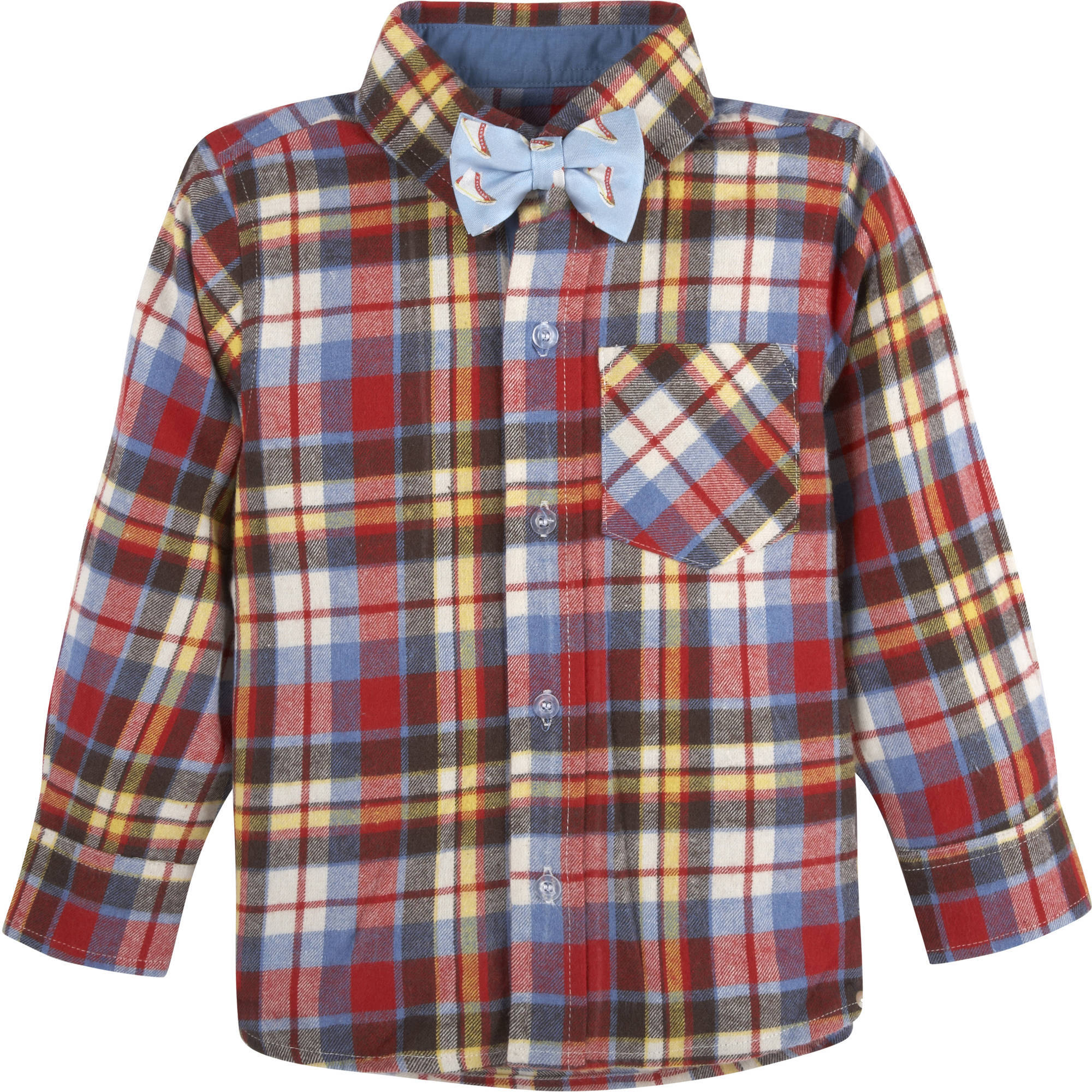 G-Cutee Baby Toddler Boy Flannel Plaid Shirt w/ Bowtie
