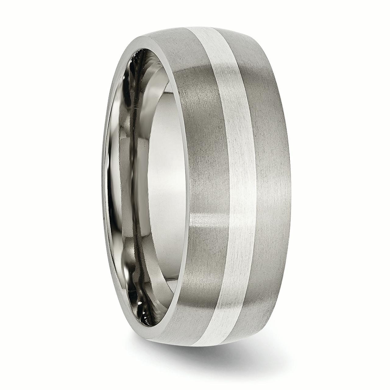 Titanium 925 Sterling Silver Inlay 8mm Brushed Wedding Ring Band Size 10.50 Precious Metal Fine Jewelry Gifts For Women For Her - image 5 de 6