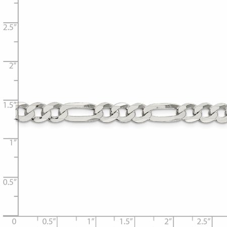 925 Sterling Silver 7.5mm Polished Flat Figaro Chain 24 Inch - image 2 of 5
