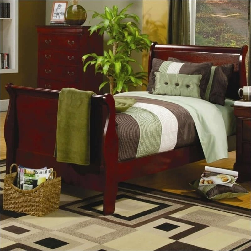Bowery Hill Twin Sleigh Bed in Cherry by Bowery Hill