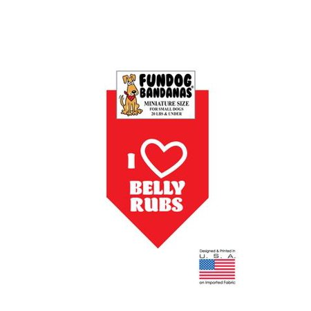 MINI Fun Dog Bandana - I Love Belly Rubs - Miniature Size for Small Dogs under 20 lbs, red pet scarf ()