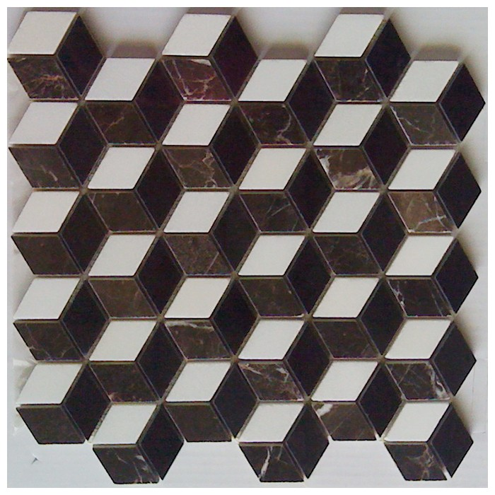 10 Sq Ft. Of  Illusion 3D 12X12 Mosaic Interlocking Polished