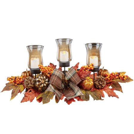 Leaves and Berries Fall Centerpiece LED Votive Candle Holders, Pumpkins, Plaid Bows, Gold, Orange and Bronze Home Décor ()