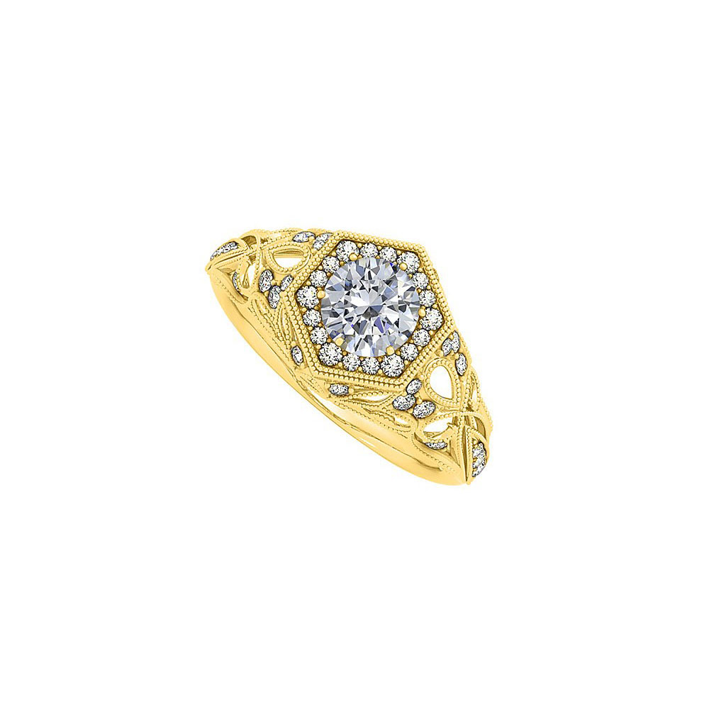 1.5 Carat CZ Hexagon Shape Filigree Design Fashion Ring - image 2 de 2