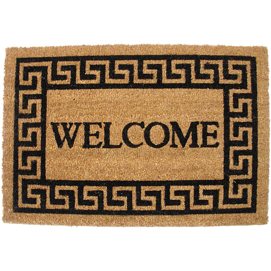 J & M Home Fashions Greek Key Welcome Vinyl Back Coco Doormat 19.5x29.5