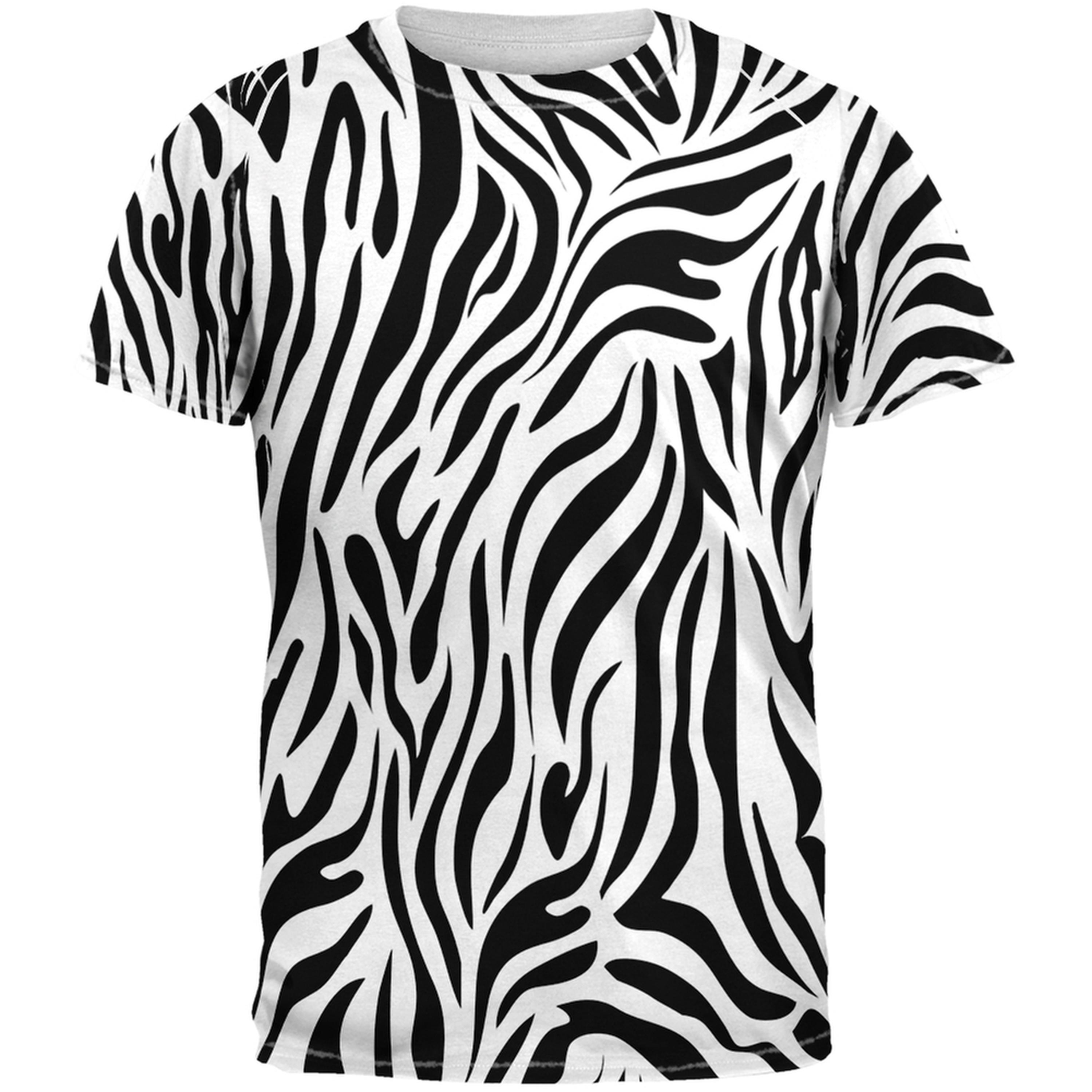 Zebra Print White Sublimated Adult T-Shirt