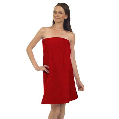 Women's Premium Terry Velour Spa Wrap-Red (Set of  2 Wraps) 2 Ply Velour Terry