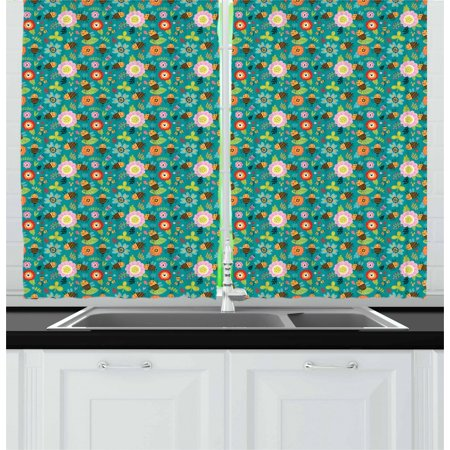 Pollen Treatment (Bee Curtains 2 Panels Set, Funny Nature Cartoon with Smiling Bees Making Honey from Flower Pollen in the Forest, Window Drapes for Living Room Bedroom, 55W X 39L Inches, Multicolor, by Ambesonne)