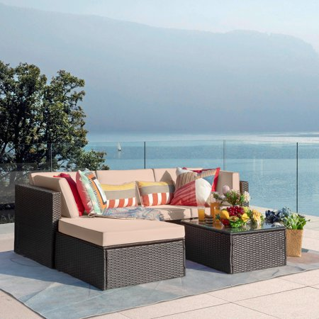Vineego 5 Pieces Outdoor Patio Furniture Sets Wicker Sectional Sofa PE Rattan Conversation Sets, Beige