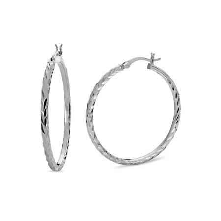 Sterling Silver Diamond Cut Square Tubing Hoop Earrings