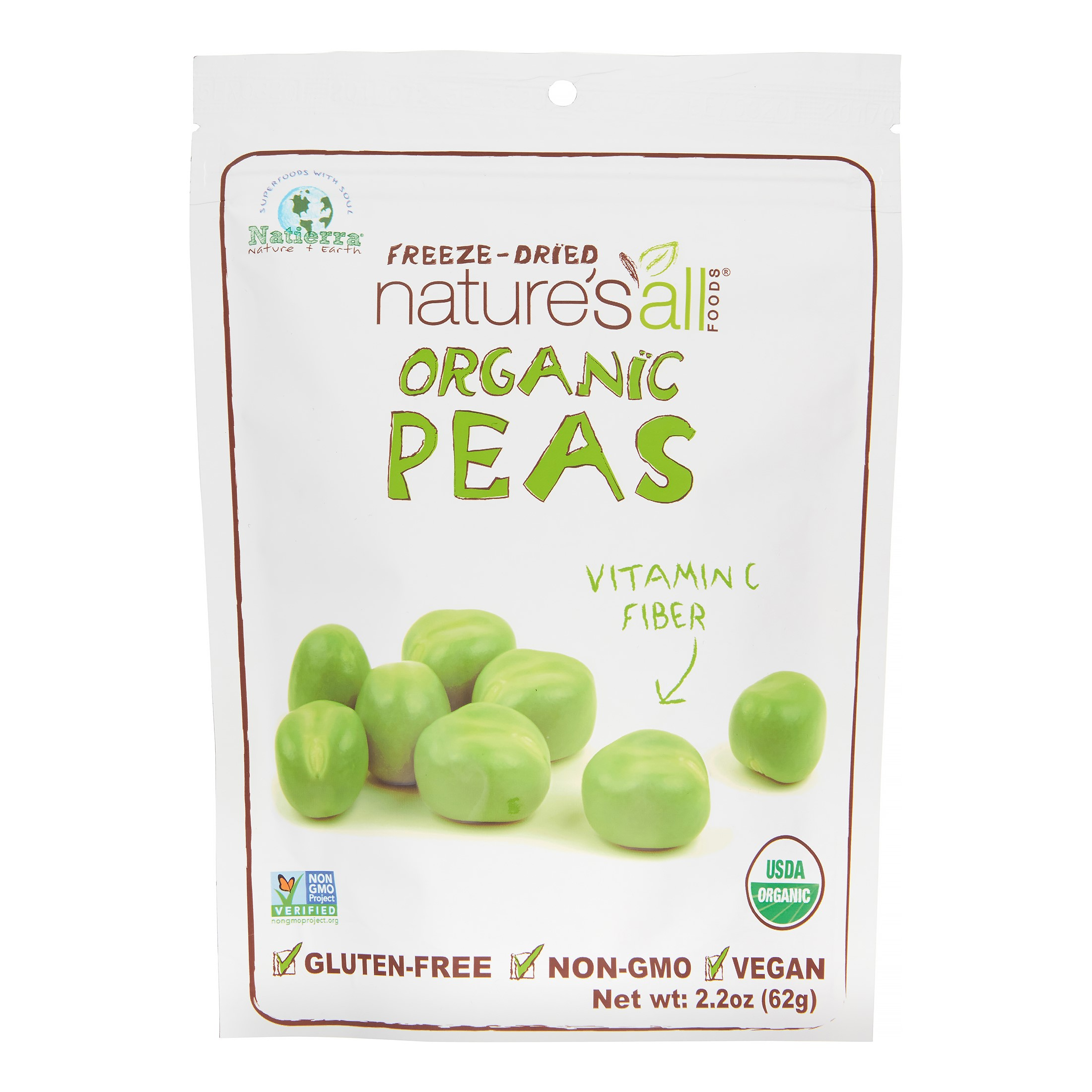 Nature's All Foods Freeze Dried Peas, Organic, 2.2 Oz
