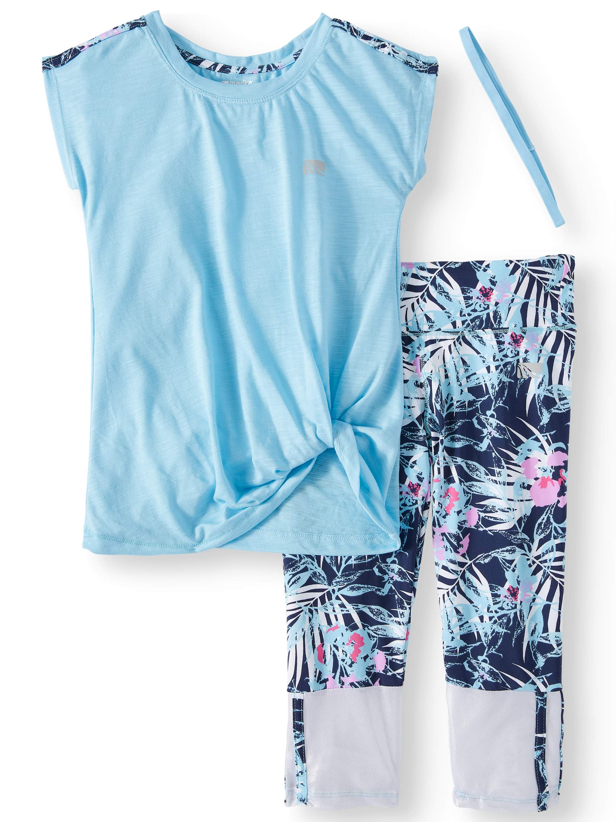 Shoulder Stripe Top and Tropical Performance Legging, 2-Piece Active Set (Little Girls & Big Girls)