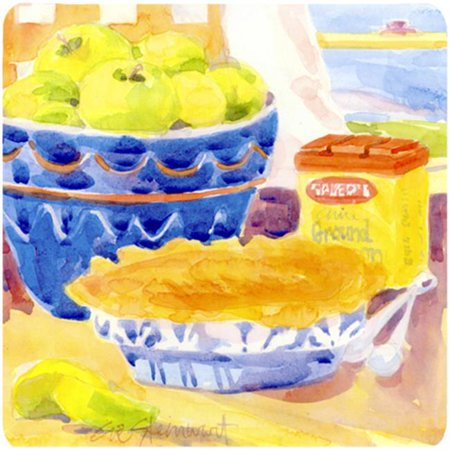 Green Apples For An Apple Pie Foam Coasters - Set Of 4, 3.5 x 3.5 - Foam Apples