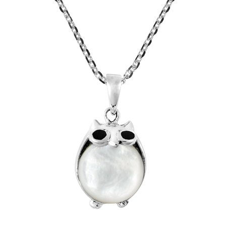 Cute and Chubby Night Owl w/ Mother of Pearl Shell Sterling Silver Necklace - Cute Chubby Teen