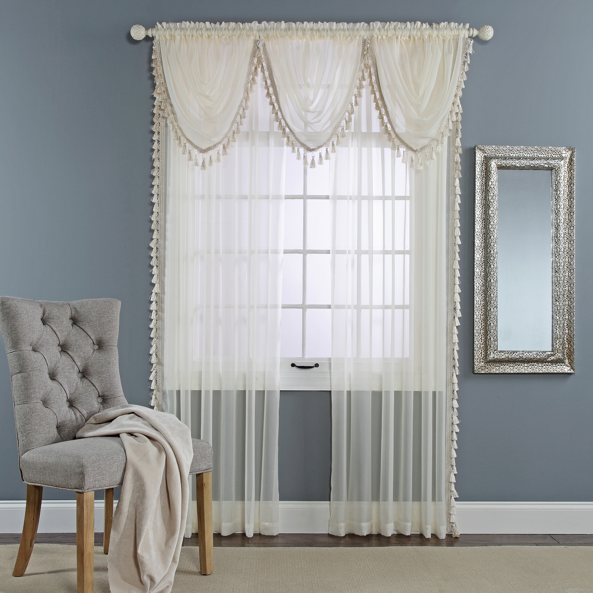 Charlotte Sheer Waterfall Valance with Tassel