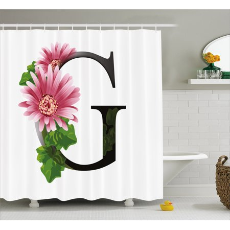 Letter G Shower Curtain Alphabet With Blossoming Gerbera Flower And Spring Inspired Font