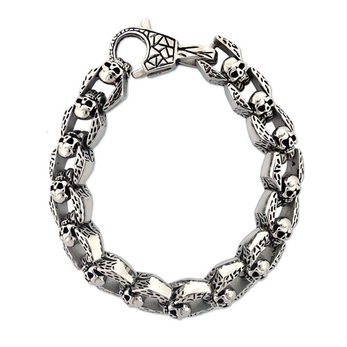 Men's Stainless Steel Skull Link Bracelet, 8-1/2""