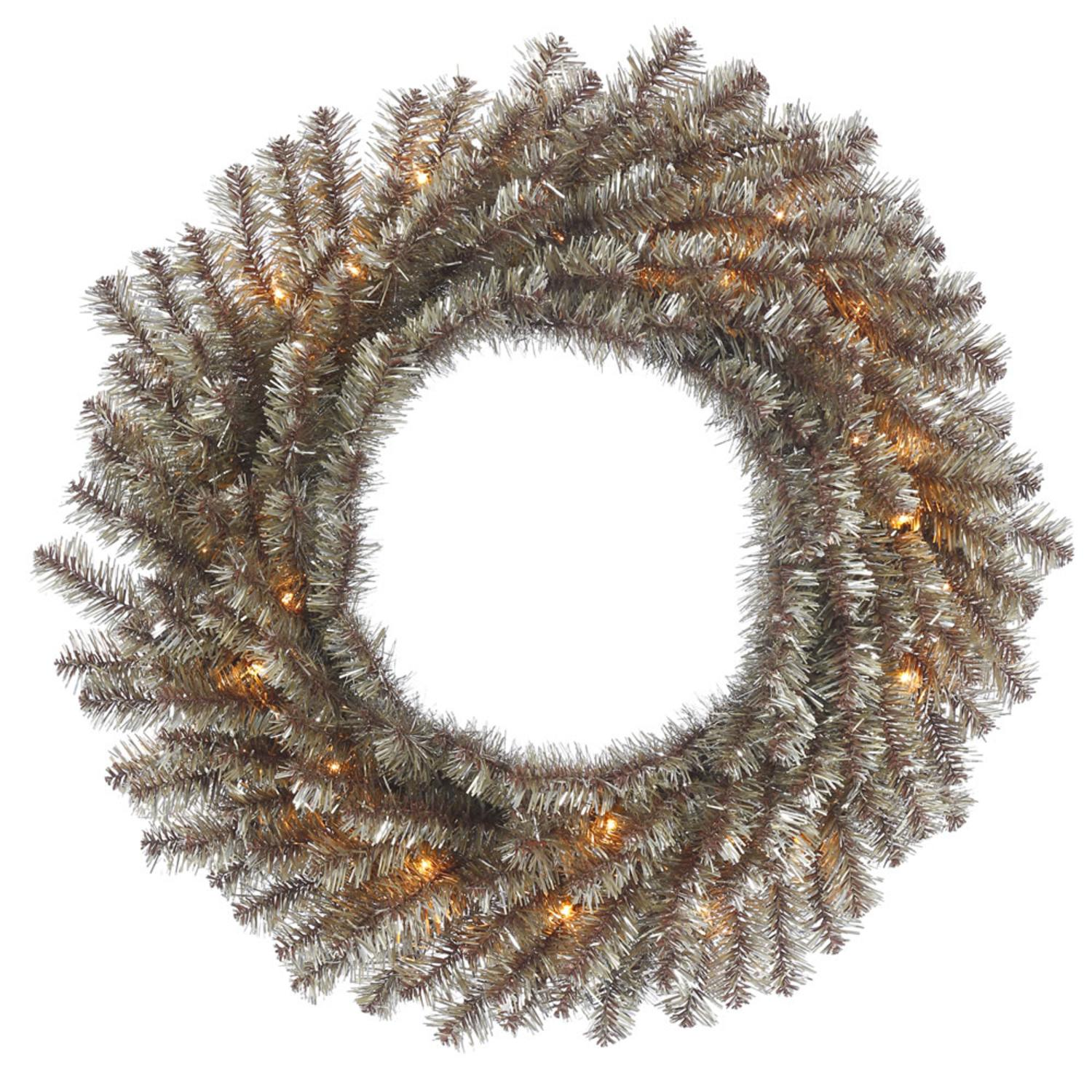 "24"" Pre-lit Mocha Tinsel Artificial Christmas Wreath - Clear Lights"