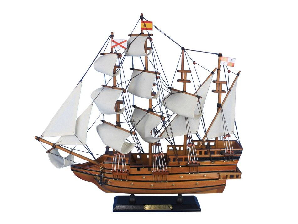 """Spanish Galleon 20"""" Wooden Tall Ship Model Boat Wood Ship Model by Handcrafted Nautical Decor"""