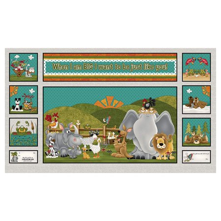 HENRY GLASS & CO. 0538499 When I Am Big 24in Whimsical Animal Block Panel Gray Fabric by The Yard, Fabric type: 100% Cotton By HENRY GLASS - 24in Depth Glass Door