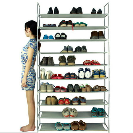 """10 Tier Shoe Organizer for Closets, Shoe Storage, Non-woven Fabric Shoe Shelf, Heavy Duty Boot Rack with Metal Tubes, Rustproof Shoe Stand for Entryway Foyer, 39"""" x 11"""" x 71"""", Gray, Q4208 thumbnail"""