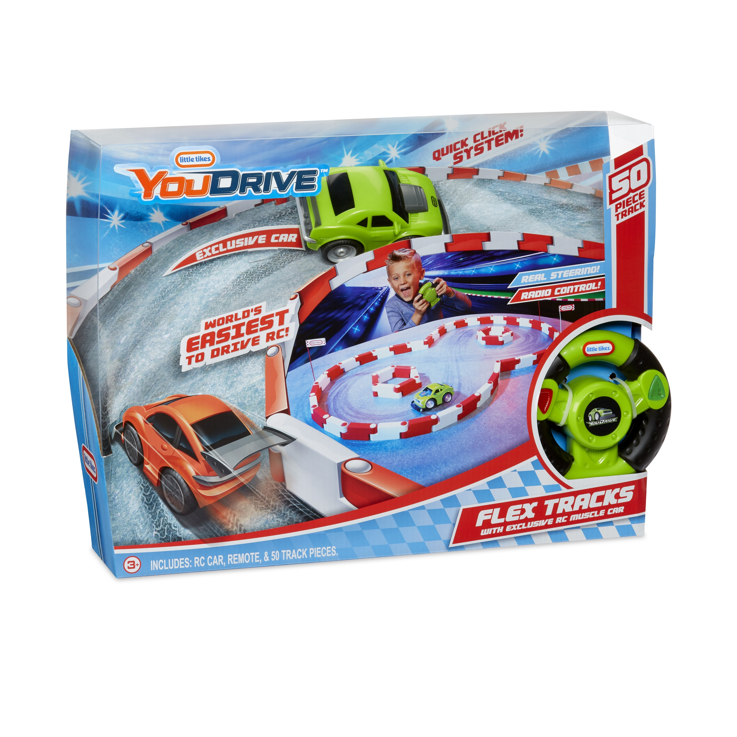 Little Tikes YouDrive Flex Tracks Green Muscle Car w/ Easy Steering RC
