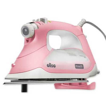 oliso tg1600 smart iron / steam iron - pink color itouch self lifting technology - auto shut off - multiple steam iron options - 1800w - extra long cord 12 with 360? rotation ()