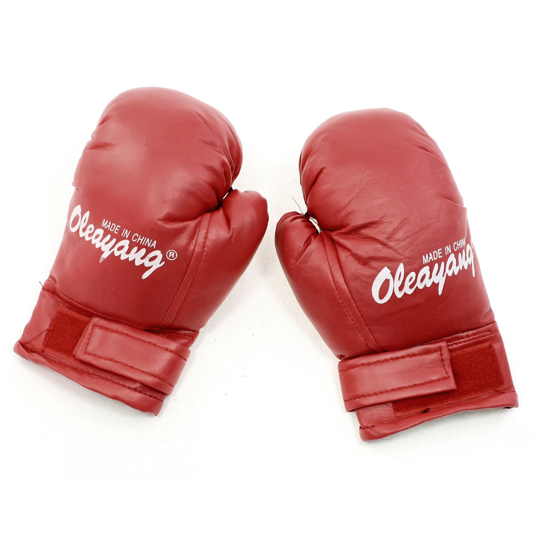 Unique Bargains Professional Sport Faux Leather   Boxing Gloves Red