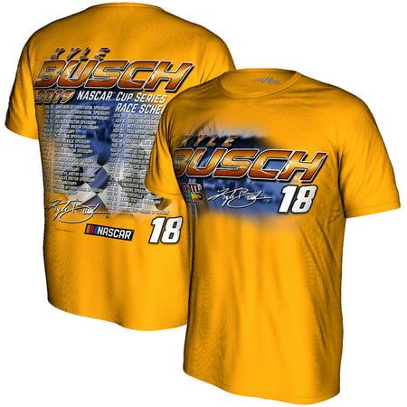 Kyle Busch Joe Gibbs Racing Team Collection 2019 NASCAR Cup Series Schedule T-Shirt - Yellow (Kyle Busch Costume)