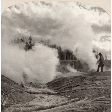 Yellowstone Park Geyser Nspectator Watching Black Growler Geyser Eruption  In Yellowstone National Park Wyoming Stereograph C1902 Rolled Canvas Art -