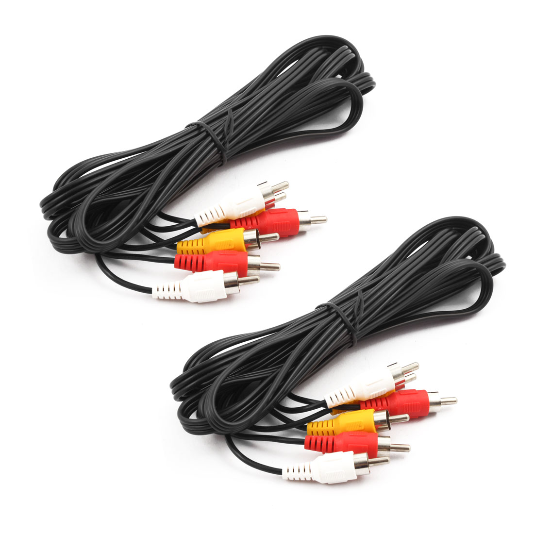 Universal 3 RCA Male to 3 RCA Male Audio Video Cable 10Ft Long 2pcs for DVD TV