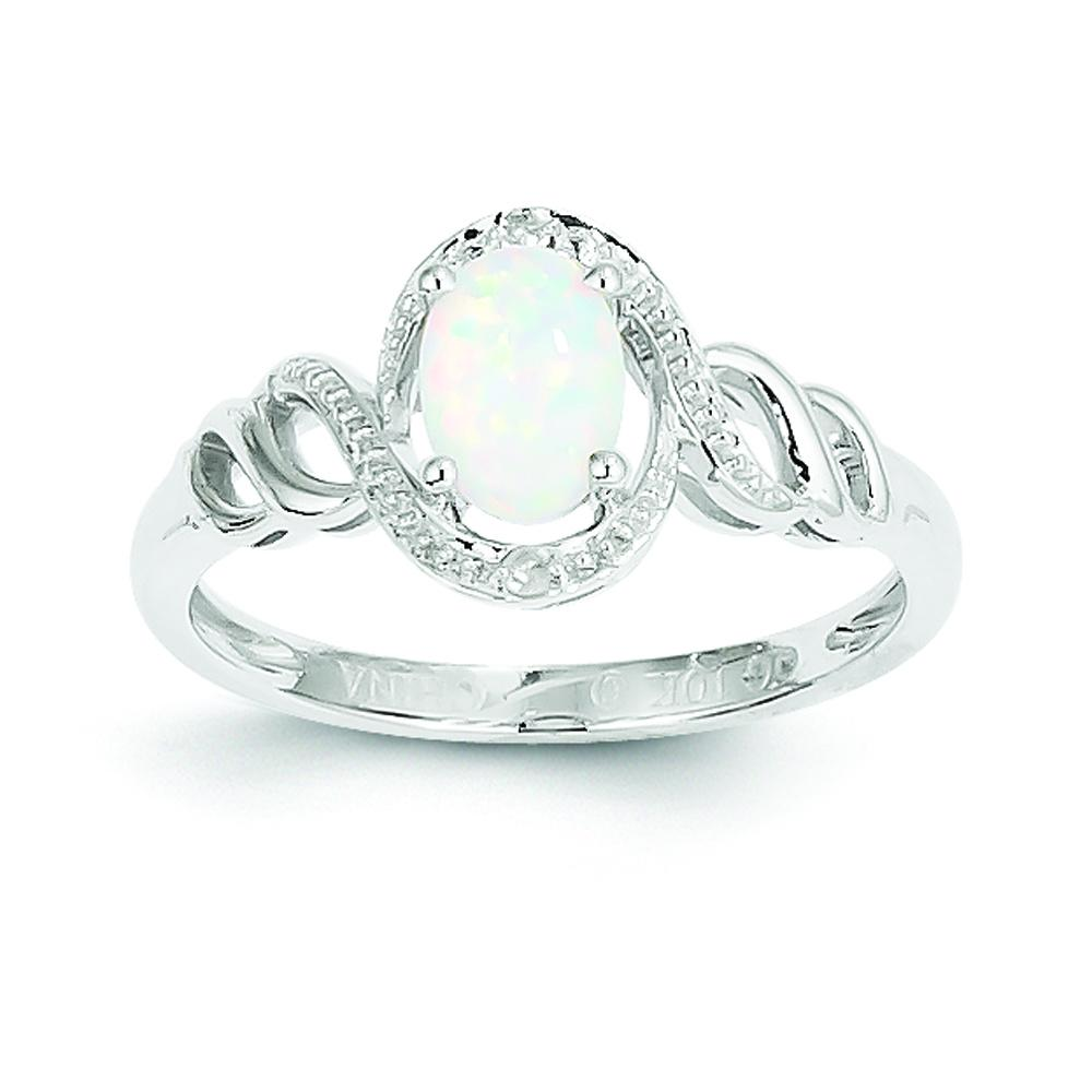 Polished 10K White Gold Genuine Opal 0.02Ct Diamond Ring Open Back Size 7 by