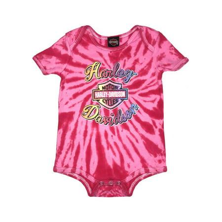 Baby Pink Creeper - Harley-Davidson Baby Girls' Glitter B&S Tie-Dye Creeper, Pink 3000739 (12M), Harley Davidson