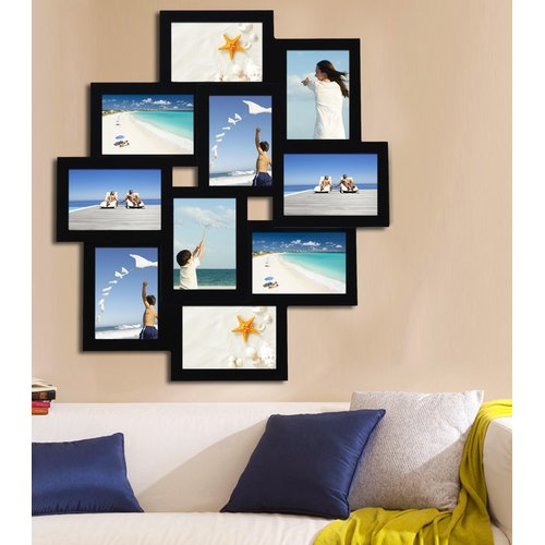 Adeco Trading 10 Opening Wood Photo Collage Wall Hanging Picture Frame by Adeco Trading
