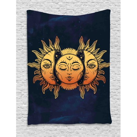 Celestial Tapestry (Psychedelic Tapestry, Moon and Sun with Many Fractal Faces Celestial Energy Mystic Art Print, Wall Hanging for Bedroom Living Room Dorm Decor, 60W X 80L Inches, Golden Dark Blue, by)