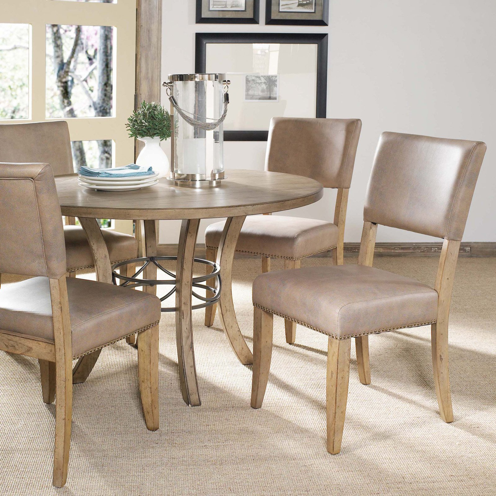 Hillsdale Charleston 5 Piece Round Desert Tan Wood Dining Set with Parson Chairs