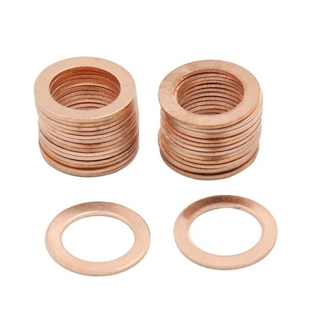 Flat Ring Gasket (14mm Inner Dia Copper Crush Flat Washers Car Engine Sealing Gaskets Plate Rings)