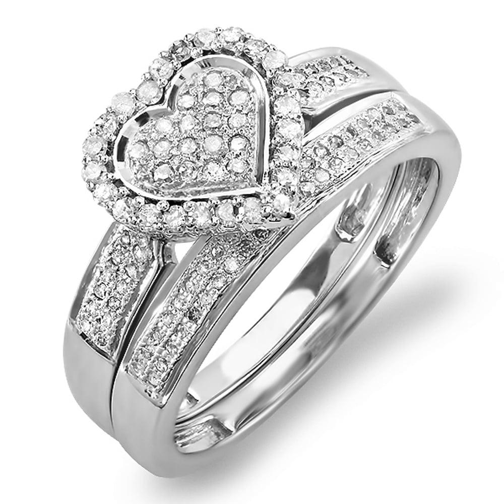 Dazzling Rock 0.38 Carat (ctw) 10K White Gold Diamond Bri...