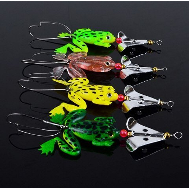 Redcolourful 4pcs lot Rubber Frog Lure 3D Fishing Eyes Topwater Soft Fishing Lures Hook Kit Set Bass Pike CrankBait Wobblers Swimmbait... by