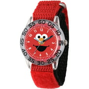 Elmo Boys' Clear Plastic Time Teacher Watch, Red Hook and Loop Nylon Strap with Black Backing