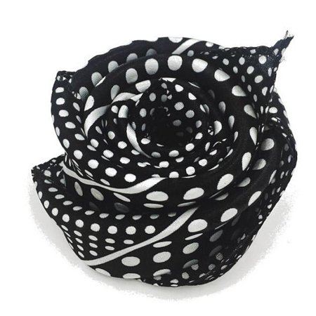 Small Square Satin Womens Neck Head Scarf Scarves -- White And Black (Neck Scarf)