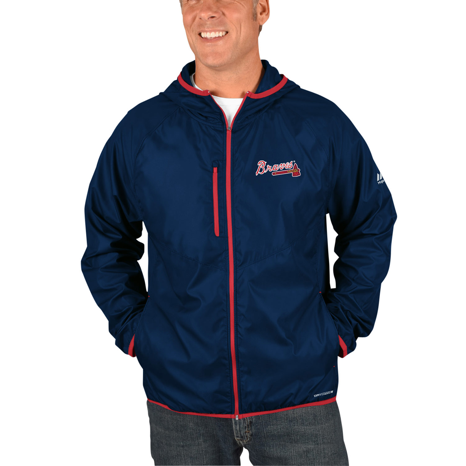Atlanta Braves Majestic Strong Will Dry Base Full-Zip Hooded Jacket Navy by MAJESTIC LSG