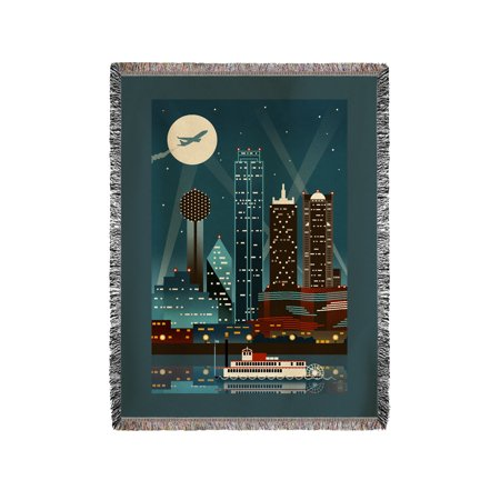 Dallas, Texas - Retro Skyline (no text) - Lantern Press Poster (60x80 Woven Chenille Yarn Blanket)