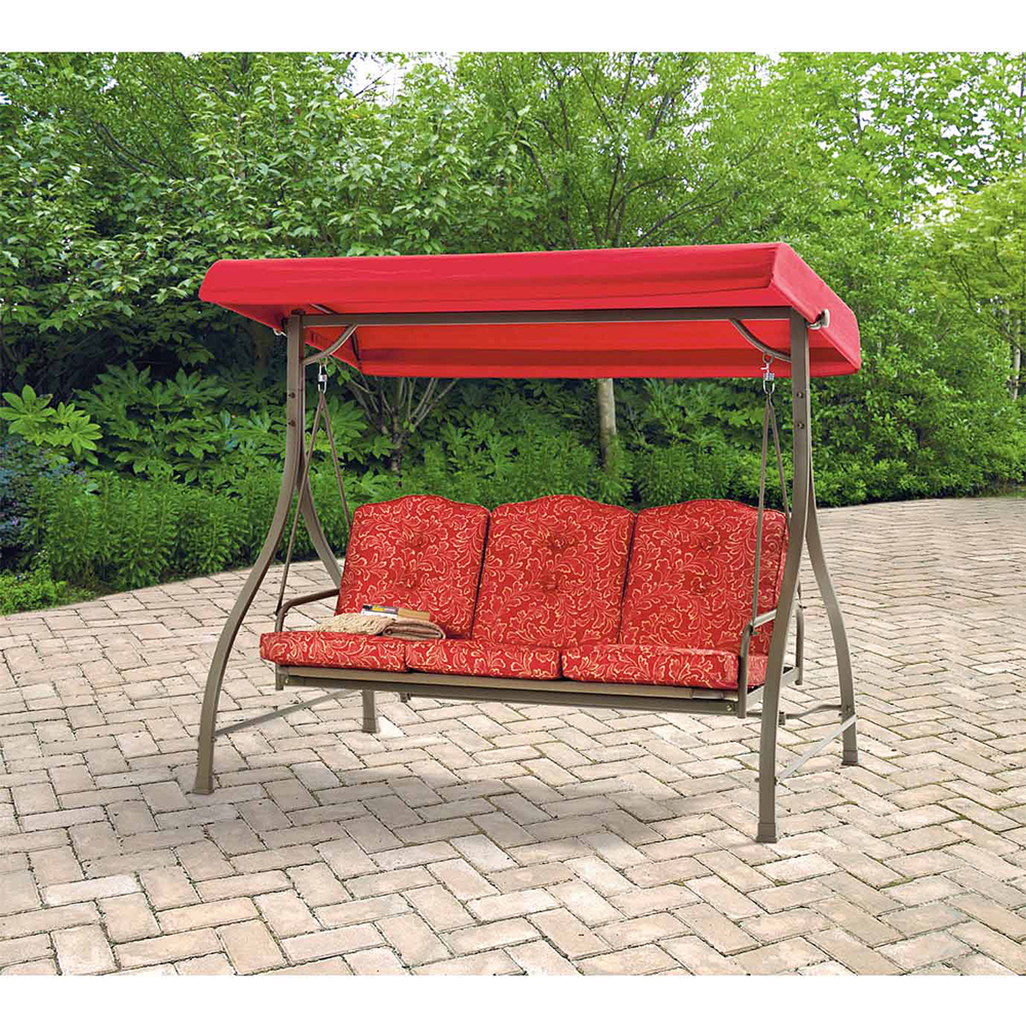 Mainstays Warner Heights Converting Outdoor Swing Hammock Red Seats 3