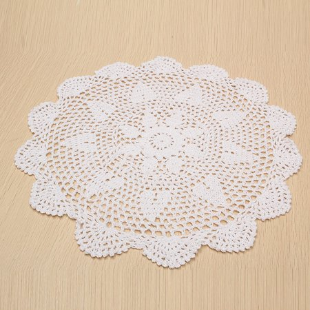 """Meigar 14.5""""  Sunflower Lace Floral Round Cream Hand Crochet Cup Mat Doilies Coasters Wedding Table Fabric Cloth Doily Placemats  - image 5 of 7"""